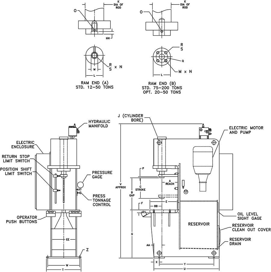 C-Frame Open Gap Frame Hydraulic Press (OGF Press) Drawing